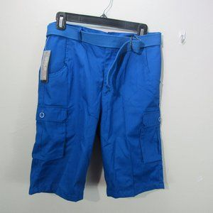 Galaxy Mens Flat-Front Belted Cargo Shots blue W30